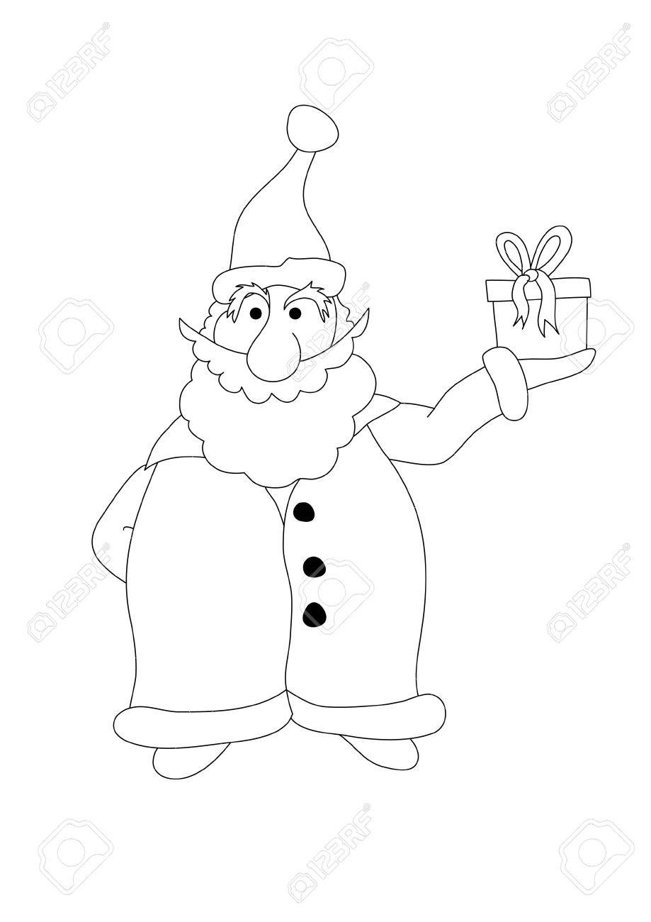 Color It. Santa Claus Holds A Gift Isolated On A White Background ...