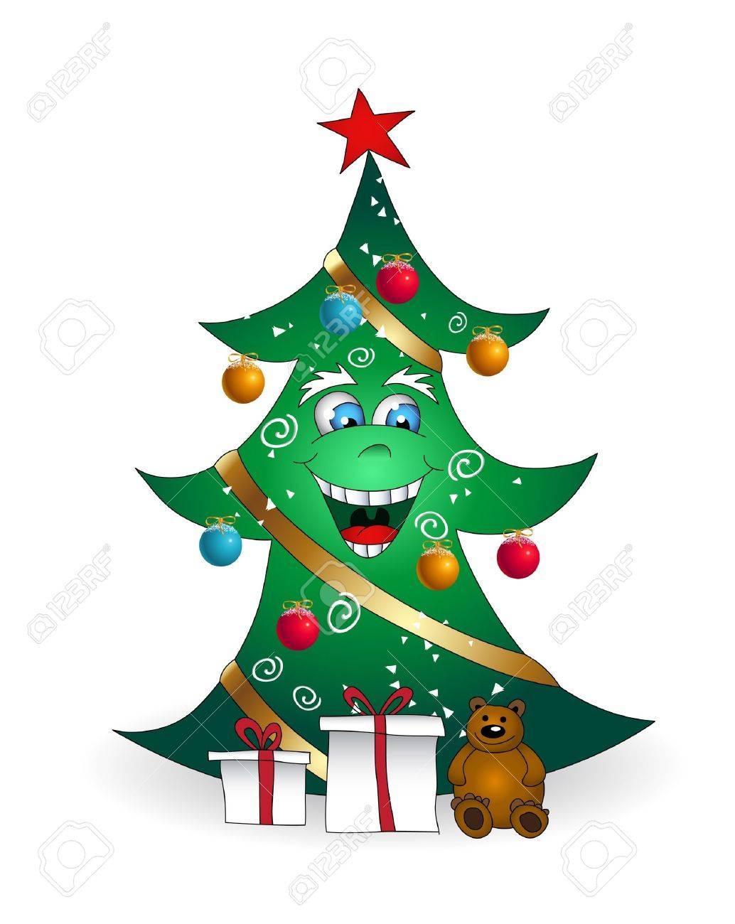 Dibujos Animados De Navidad Sonriente Ilustración Del árbol De ...