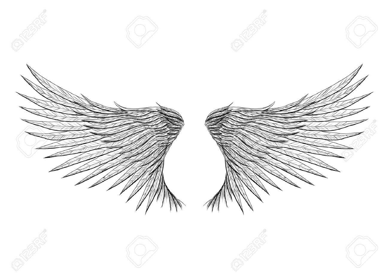Tattoo Vleugels Geïsoleerd Op Zwarte Achtergrond Vector Illustratie Alles Wordt Gescheiden Op Verschillende Laag