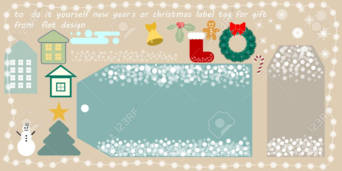 Flat vector new years or christmas printable tag for gift or flat vector new years or christmas printable tag for gift or sale do it yourself solutioingenieria Gallery