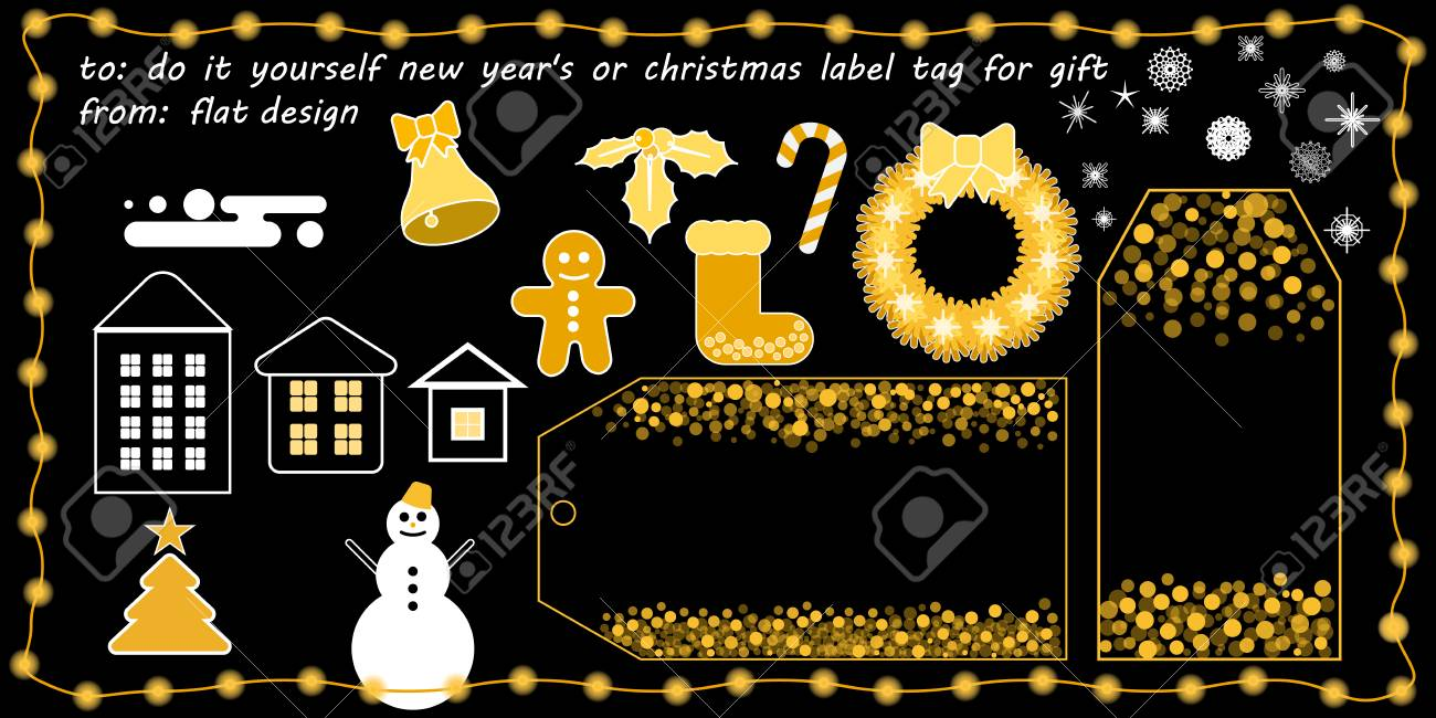 flat vector new years or christmas printable tag for gift or sale do it yourself