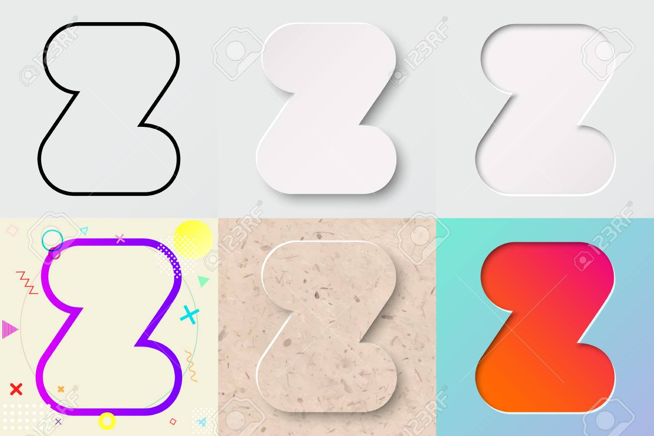 Vector illustration set of cute bold rounded letter z with outline vector vector illustration set of cute bold rounded letter z with outline 3d paper cut spiritdancerdesigns Image collections
