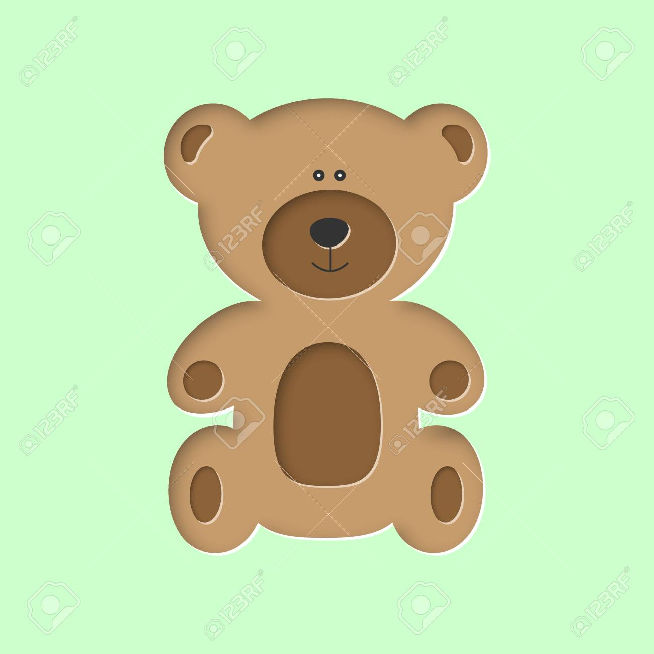 Sitting Cute Forest Brown Baby Bear Toy In Paper Cut Craft Style