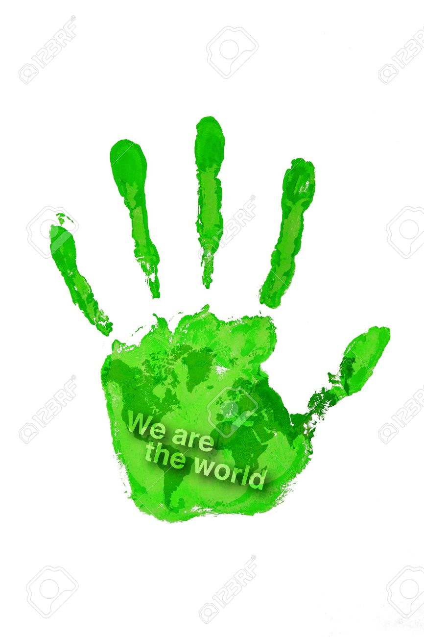 Hand Print Green Color On World Map With Text We Are The Stock Photo