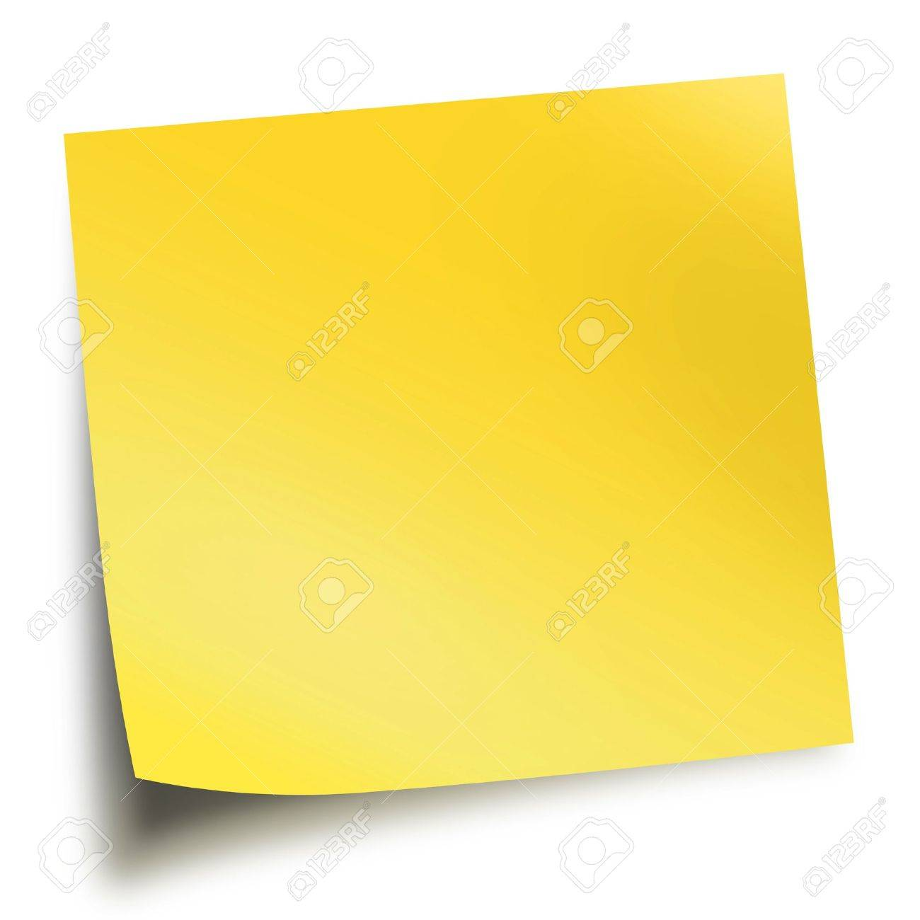Yellow memo stick isolated on white background with soft shadow Stock Photo - 9109180