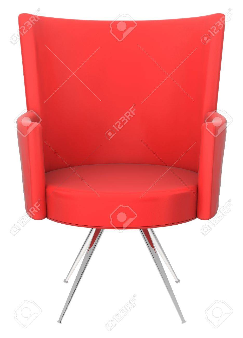 red modern chair isolated over white background stock photo  - red modern chair isolated over white background stock photo
