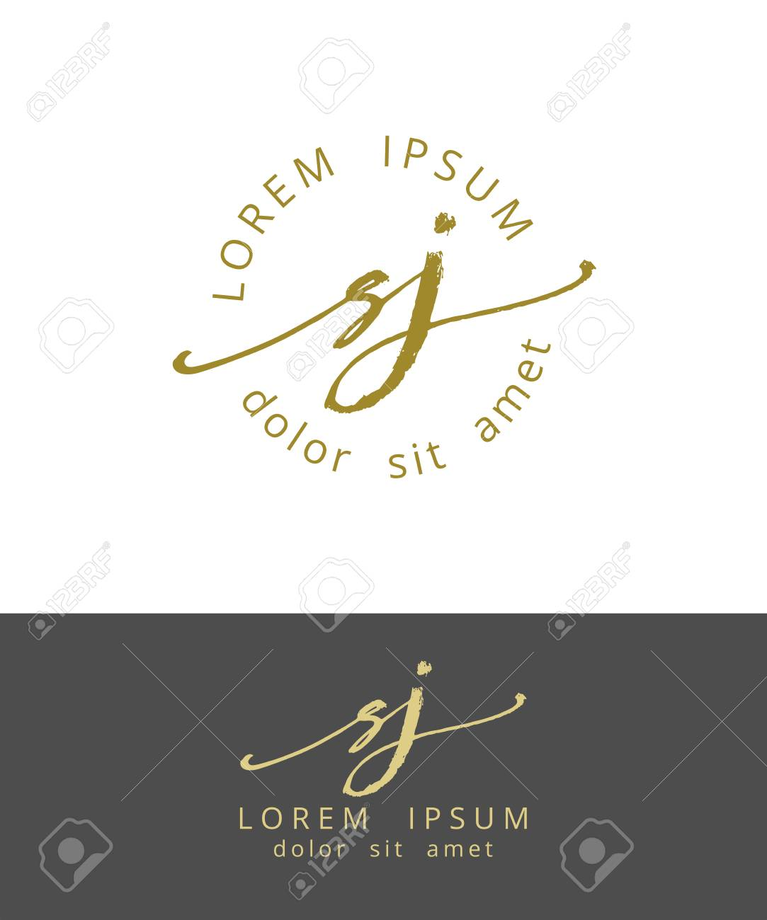 S J Hand Drawn Brush Monogram Calligraphy Logo Design Work Royalty Free Cliparts Vectors And Stock Illustration Image 95580216