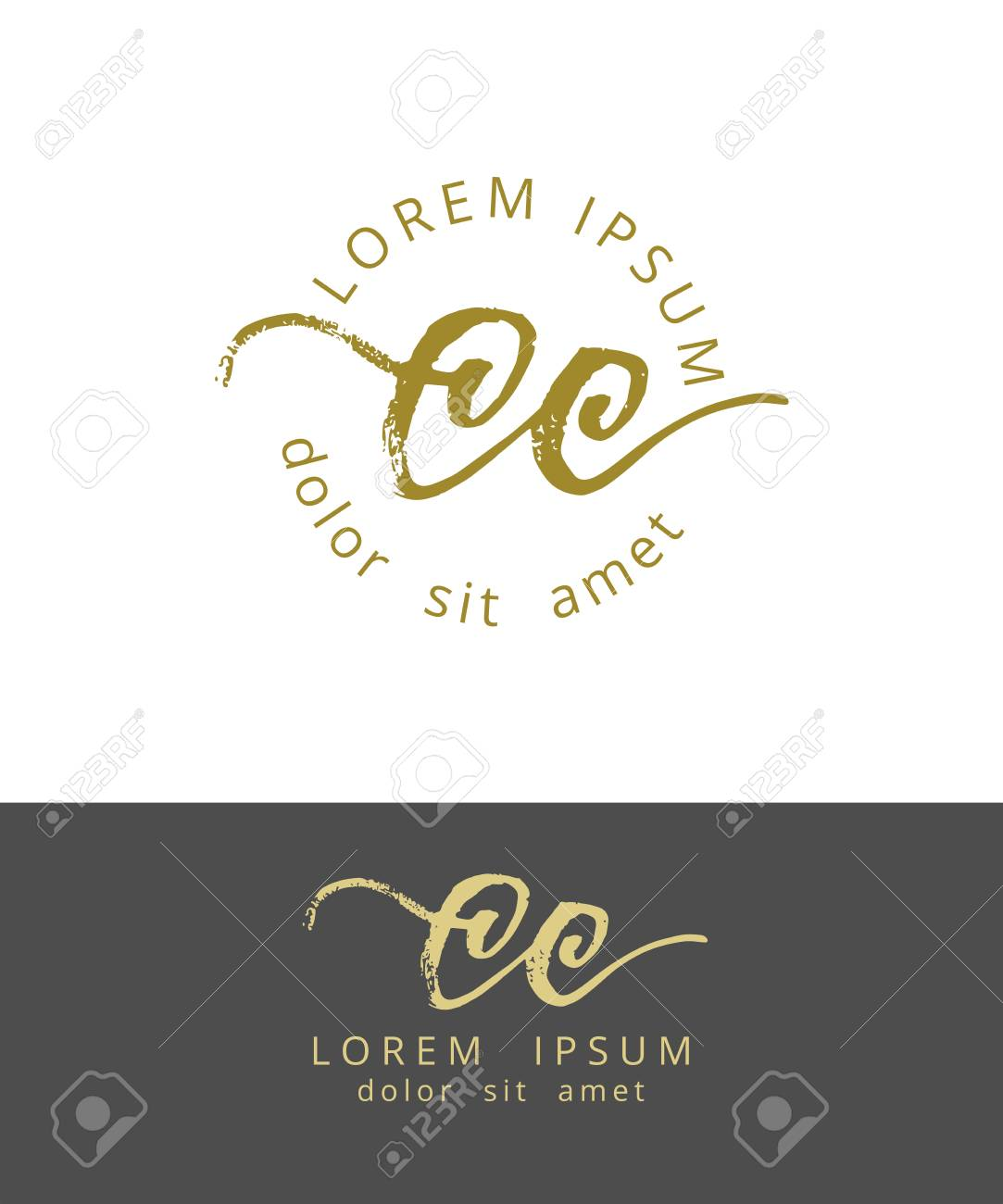 C C Initials Monogram Logo Design Dry Brush Calligraphy Royalty Free Cliparts Vectors And Stock Illustration Image 96745962