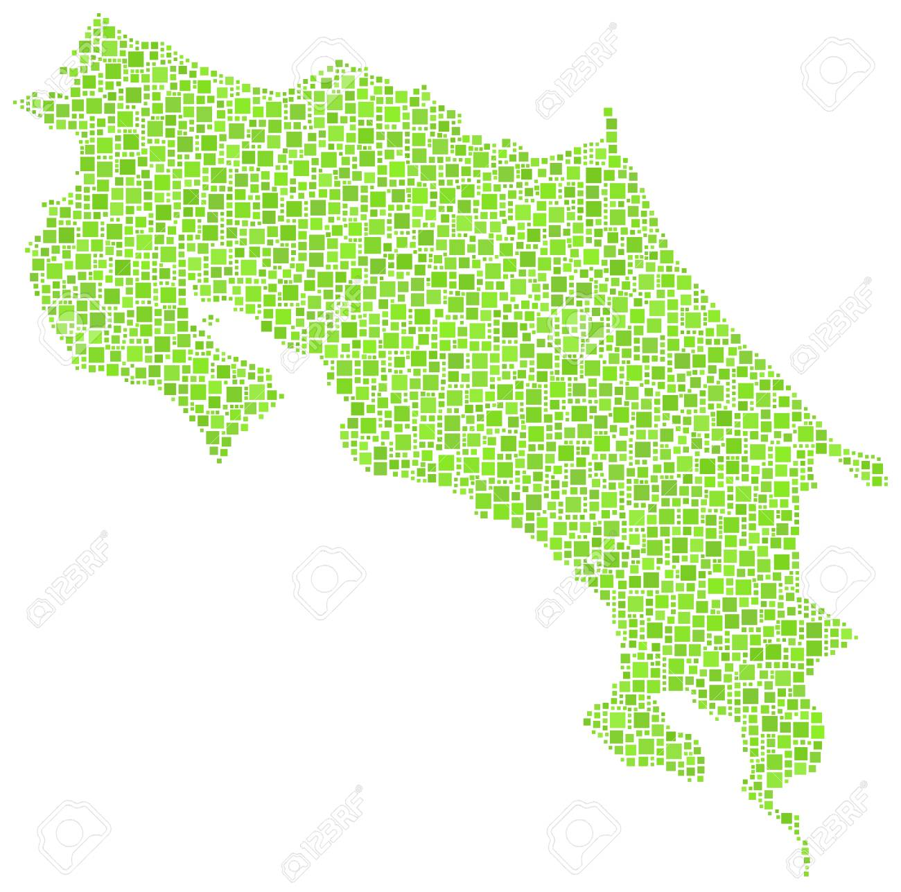 Costa Rica Usa Map.Map Of Costa Rica America In A Mosaic Of Green Squares Royalty