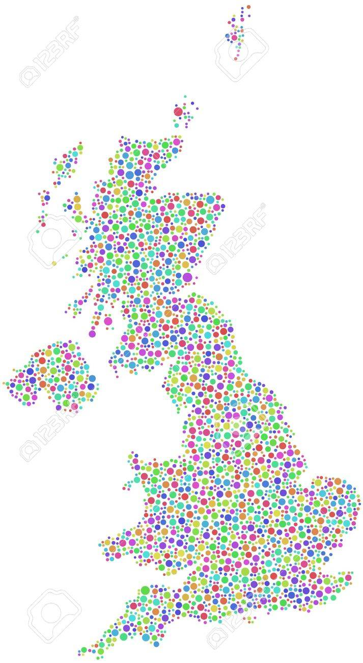 Map of Great Britain - Europe - in a mosaic of harlequin circles Stock Vector - 16975170