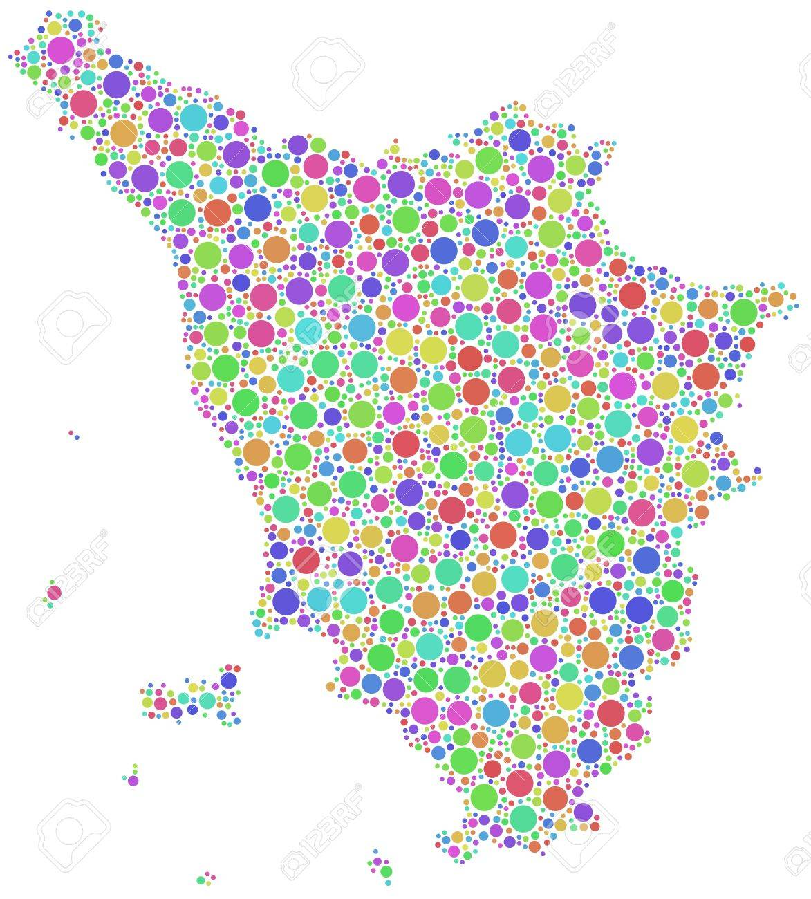 Map Of Tuscany Italy In A Mosaic Of Harlequin Bubbles Royalty - Map of tuscany