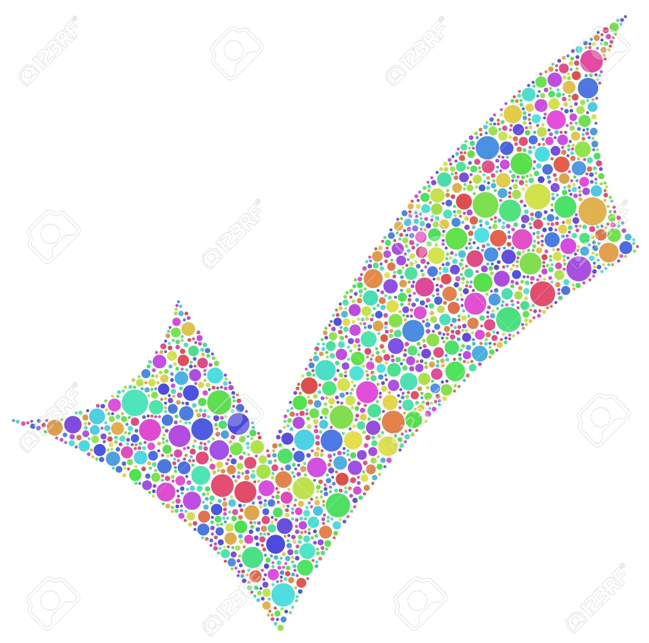 Positive checkmark in a mosaic of harlequin bubbles  White background Stock Vector - 19584003