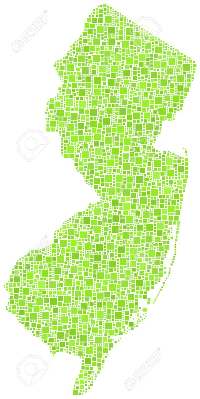 Map of New Jersey - USA - in a mosaic of green squares Stock Vector - 21525761