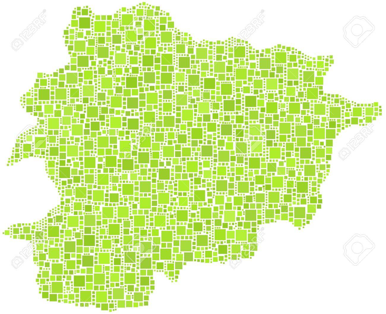 Principality of Andorra - Europe - in a mosaic of green squares Stock Vector - 21991736