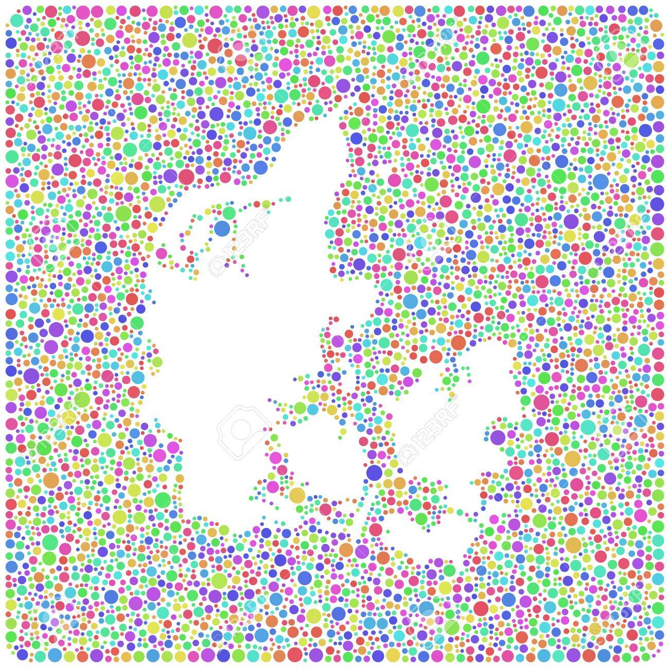 Map Of Kingdom Of Denmark Europe In A Mosaic Of Harlequin Circles ...