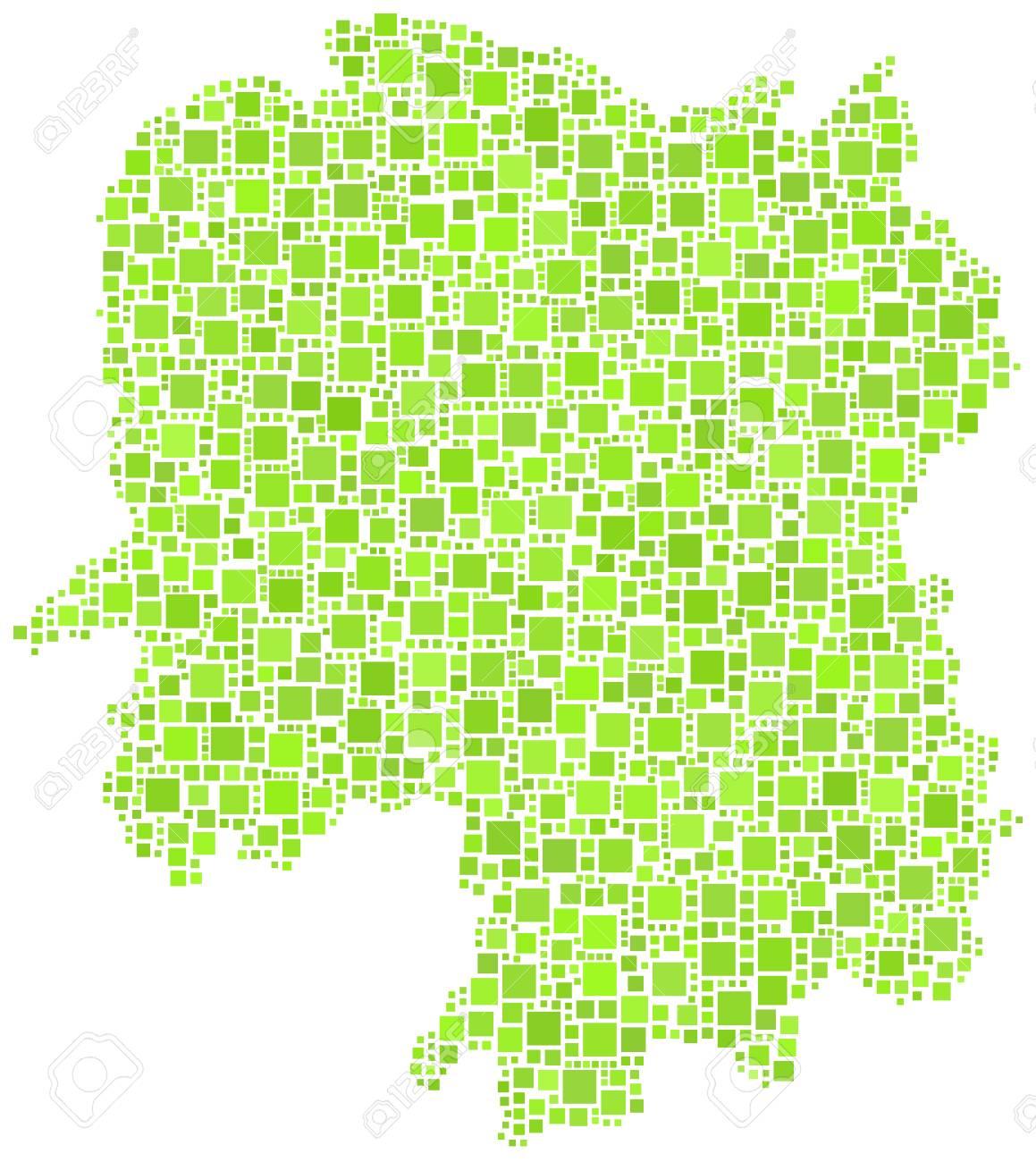 Hunan Province China Map.Decorative Map Of Hunan Province Of China In A Mosaic Of Green