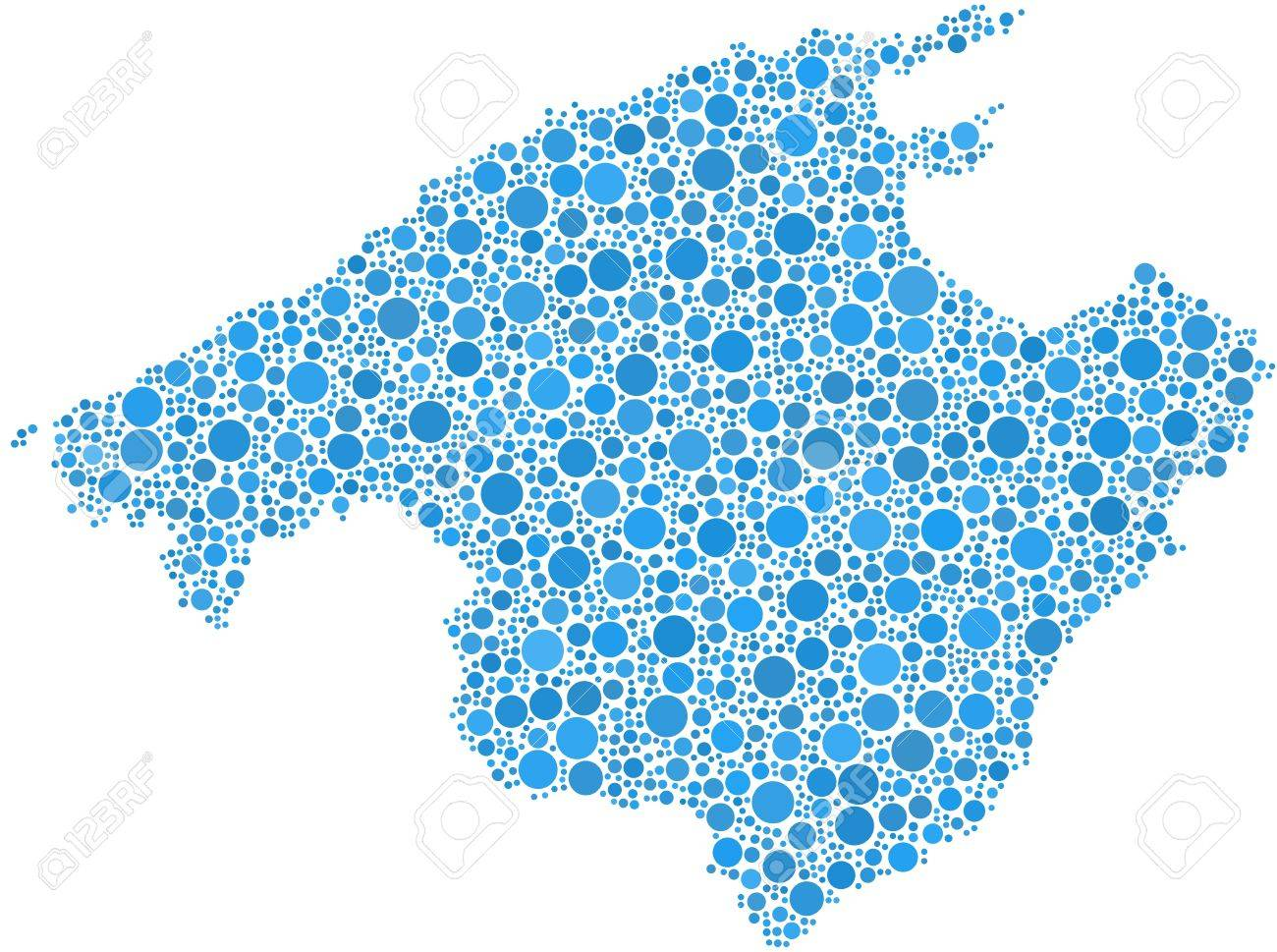 Map Of Spain Majorca.Decorative Map Of Majorca In A Mosaic Of Blue Bubbles