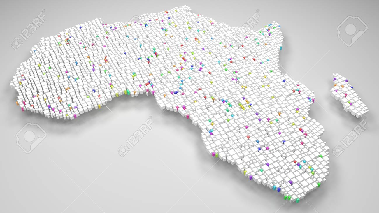 Map Of Africa 3d.Map Of Africa 3d Rendering Mosaic Of Little Bricks White