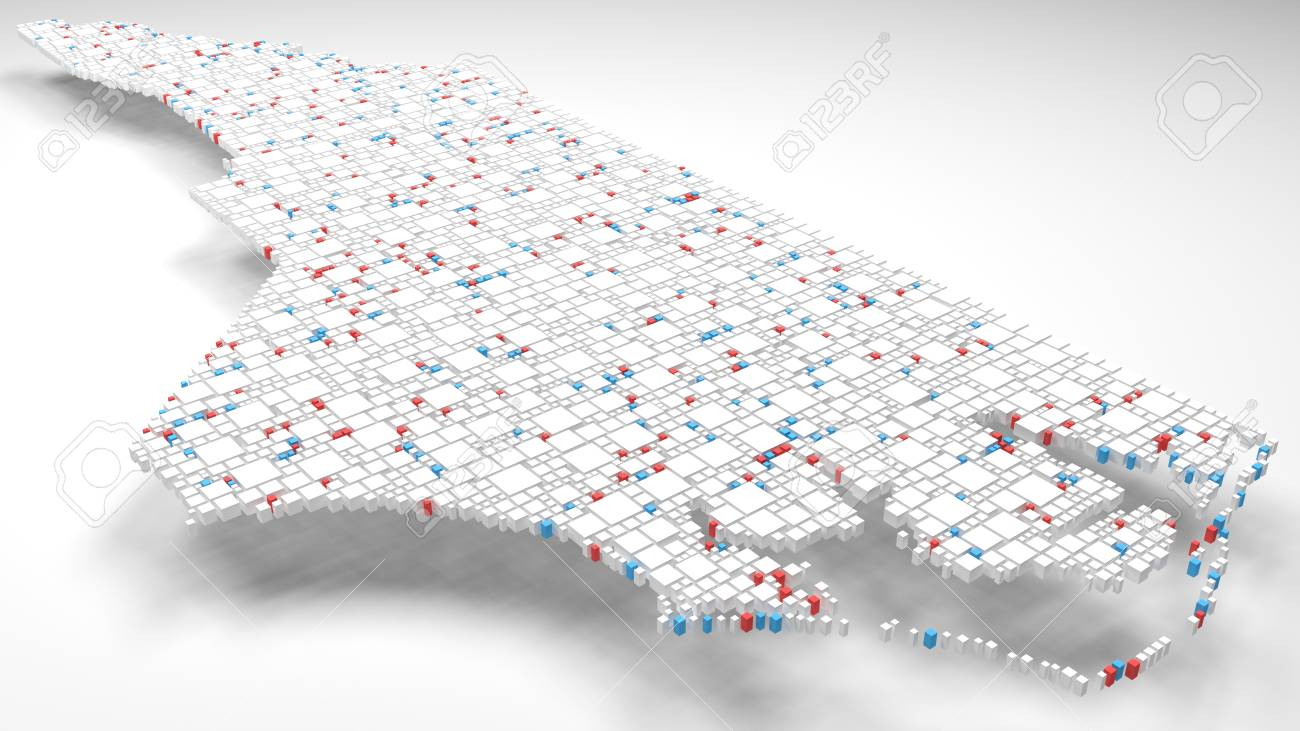 3D Map of North Carolina - USA | 3d Rendering, mosaic of little..