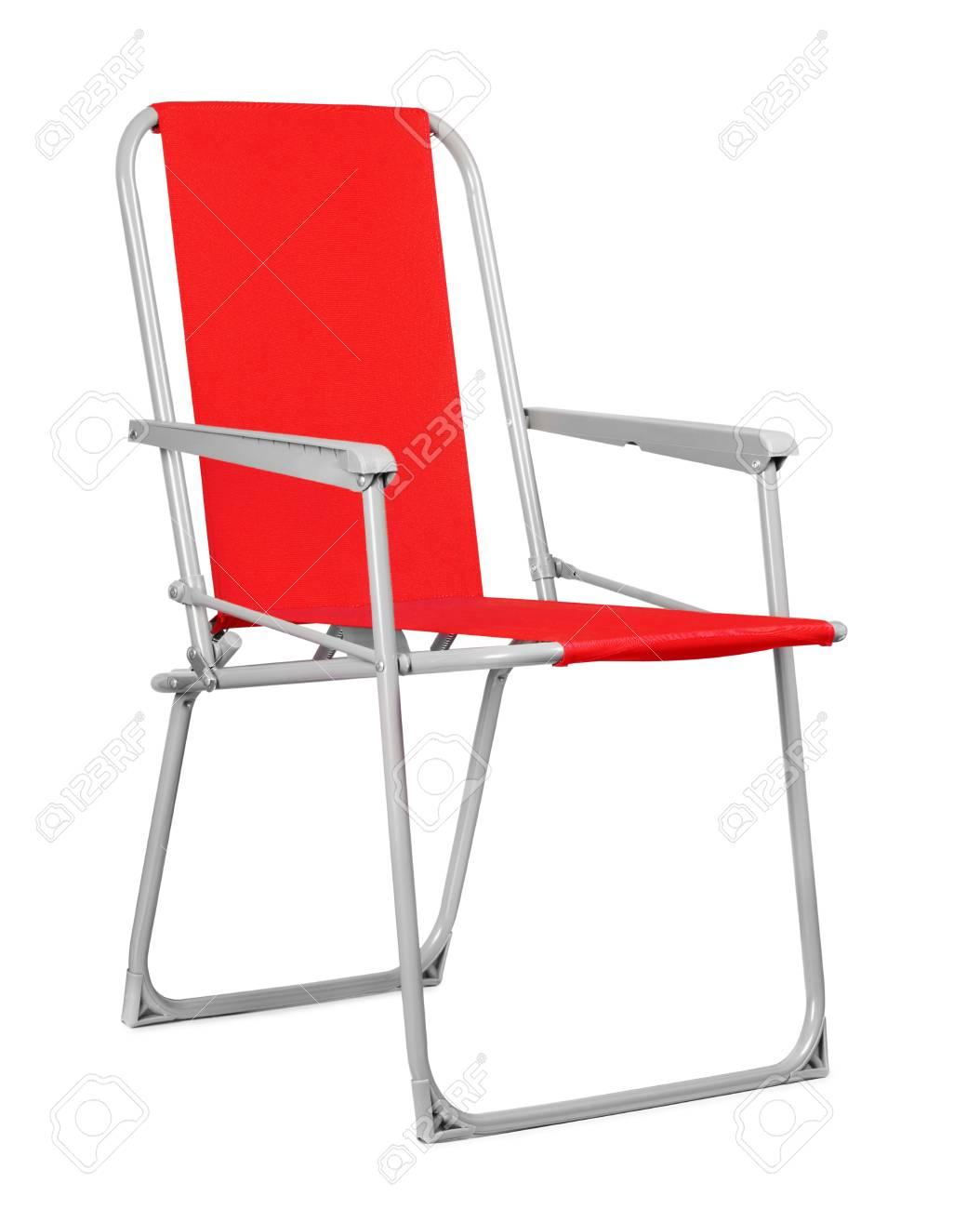 Chaise Pliante Rouge Isole Sur Le Fond Blanc Banque DImages Et