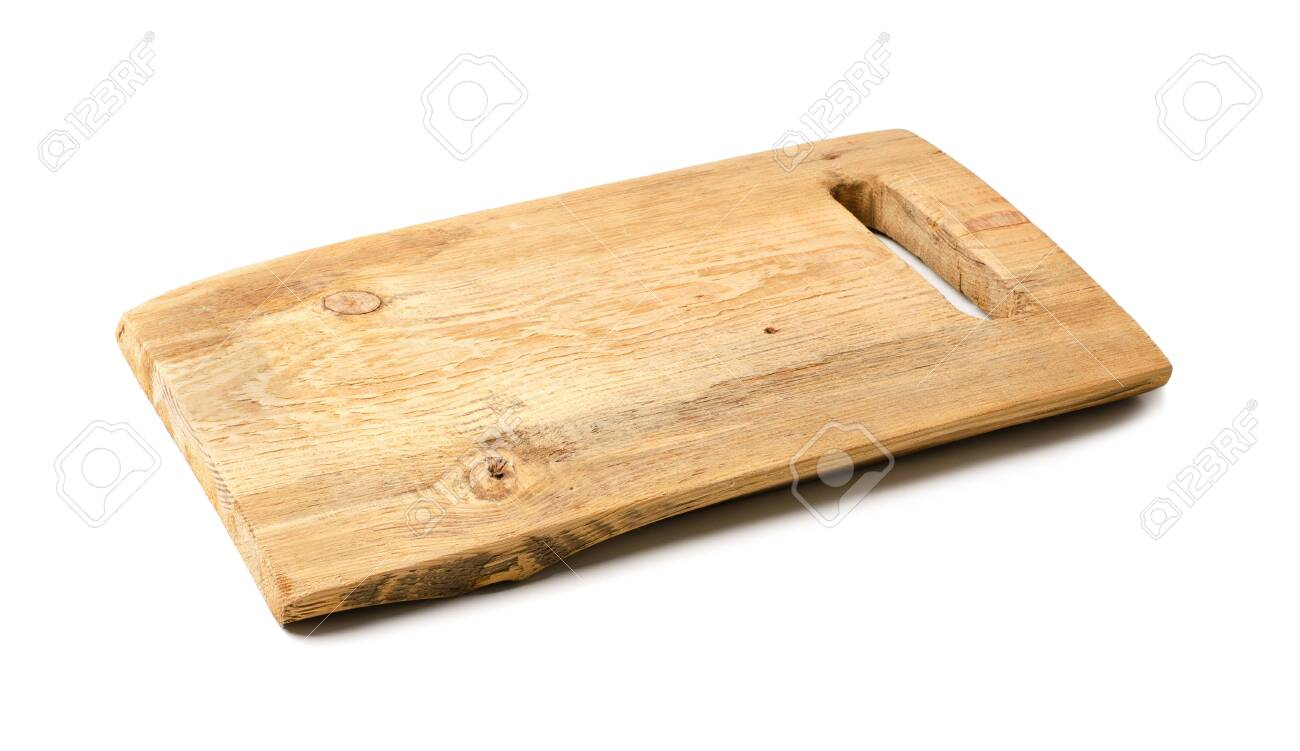 Rustic Wooden Cutting Kitchen Board Isolated On A White Background Stock Photo Picture And Royalty Free Image Image 133780113