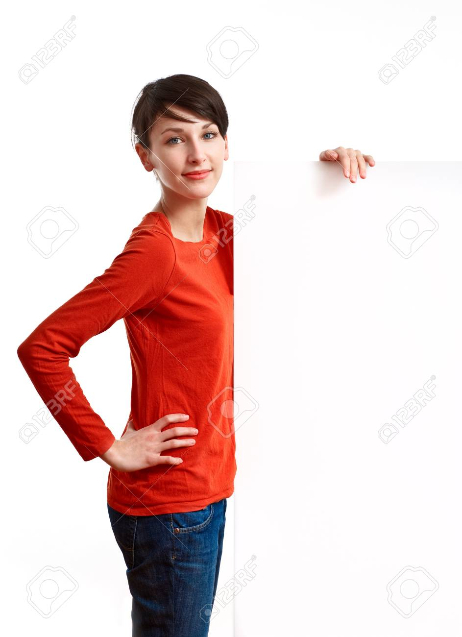 beautiful girl holding an empty white board ready to be filled with some text Stock Photo - 7434168