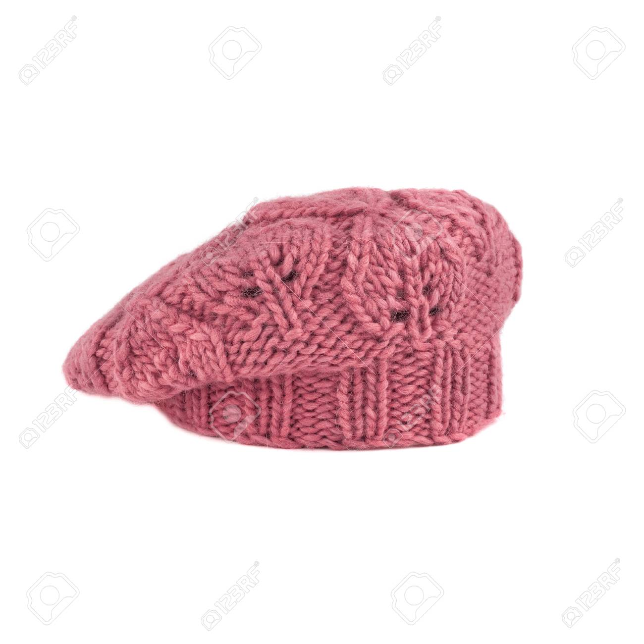 a3193aabae2 pink french beret on white background Stock Photo - 79417305