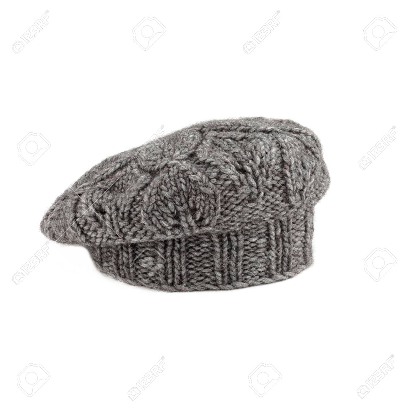 9b4b17fd489 woolen gray french beret on white background Stock Photo - 79416804