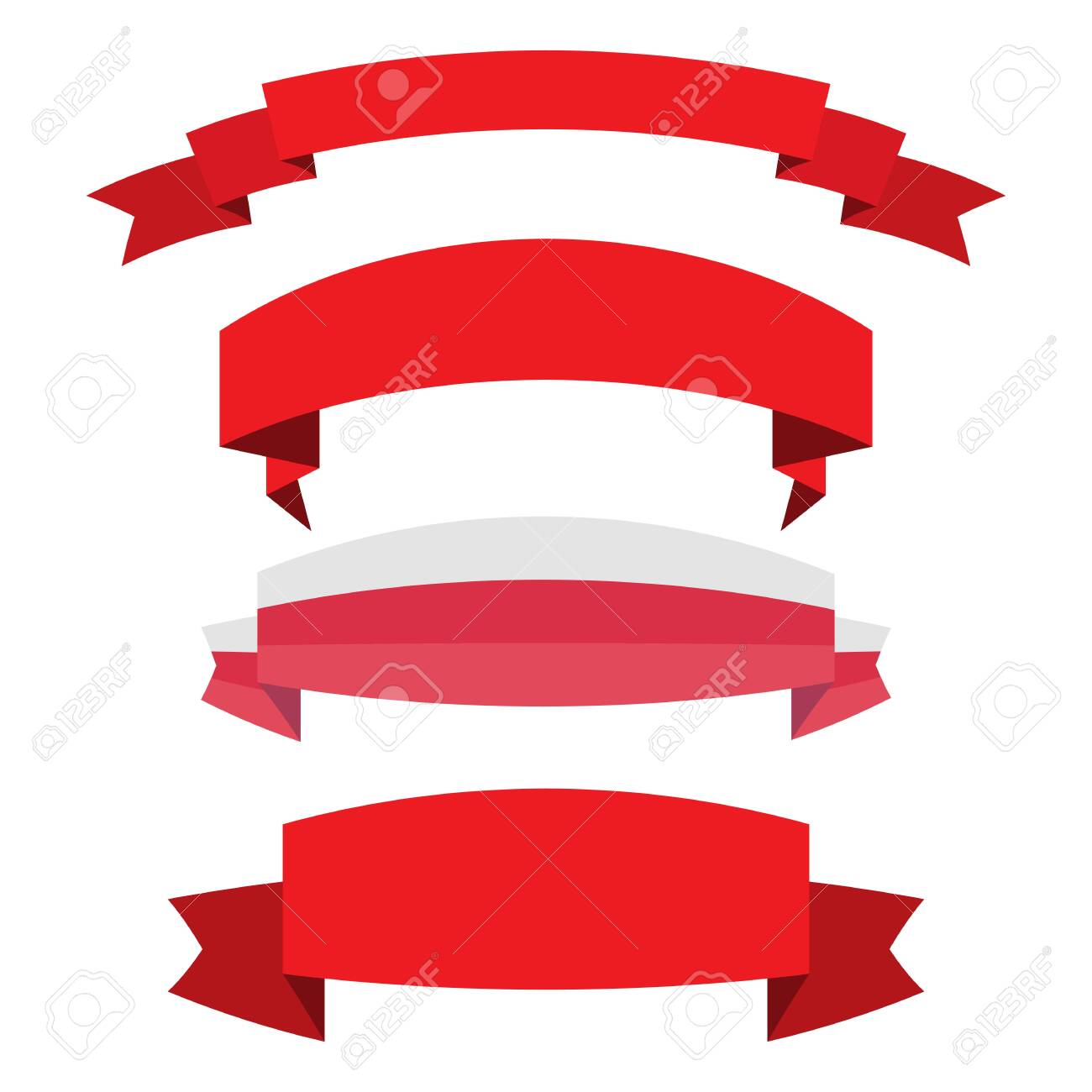set of red ribbon banner icon,Vector illustration. Place for your text. Ribbons for business and design. Design elements - 135599138
