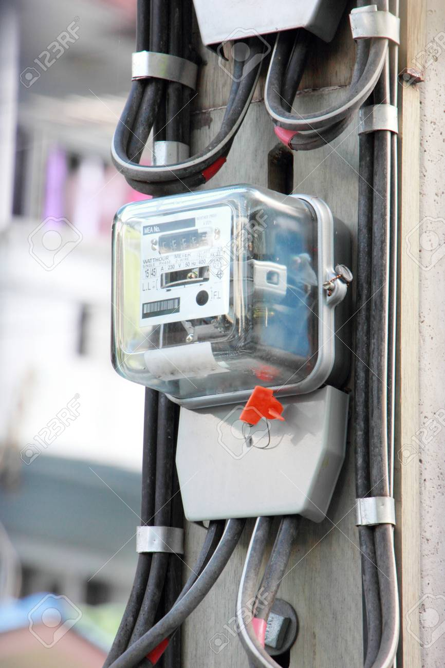Home Electric Meter Box On Pole Stock Photo, Picture And Royalty ...