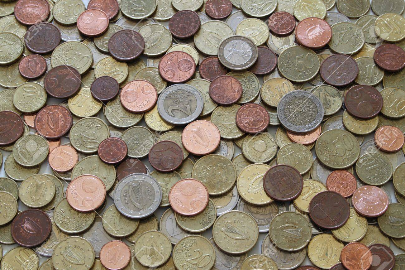 A large selection of used Euro coins Stock Photo - 9737054