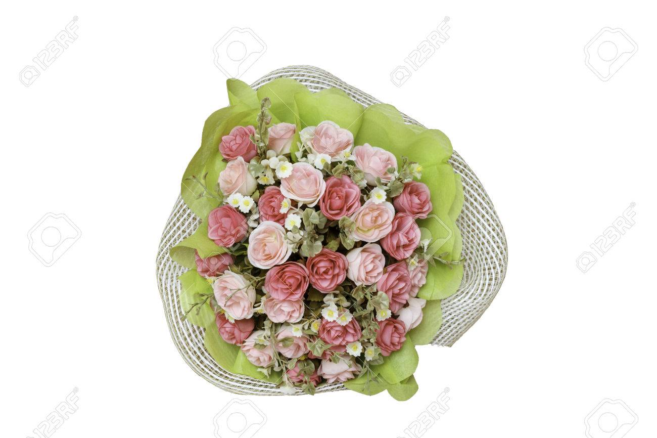 Bouquet Of Fake Flowers On White Stock Photo Picture And Royalty