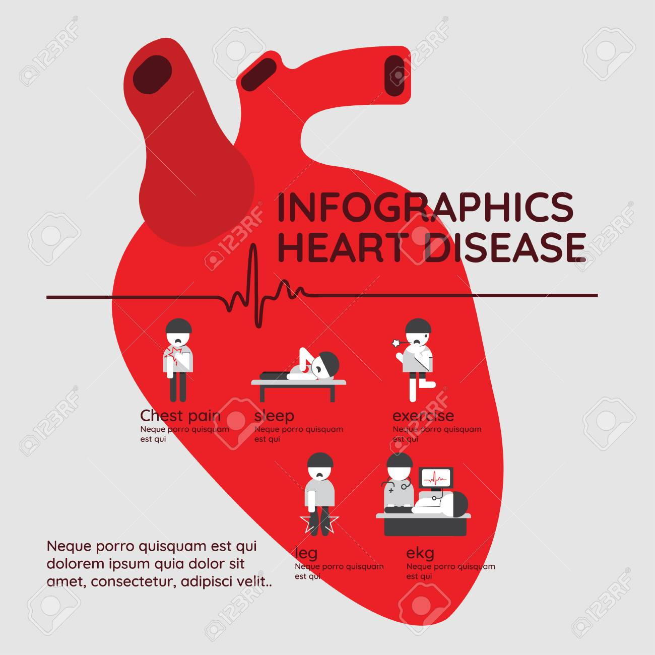 Infographics  Symptoms of heart disease and acute pain possible
