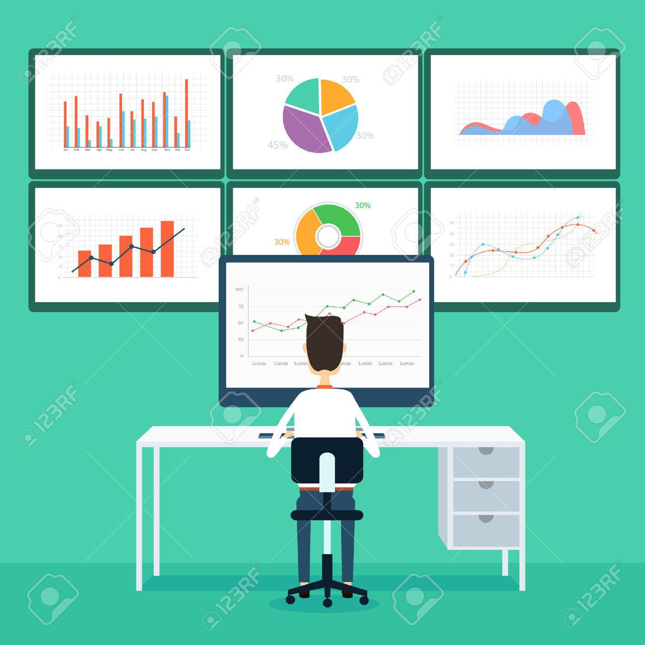 business people analytics business graph and seo on monitor - 32357698