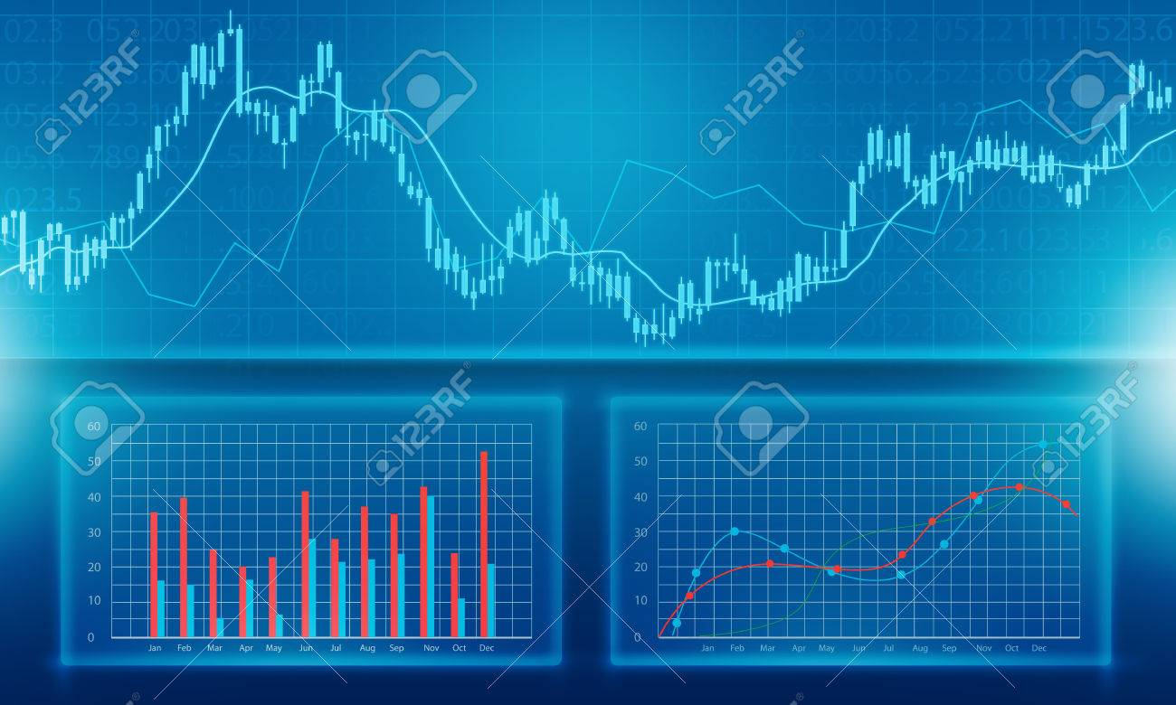 business financial and investment graph report background stock