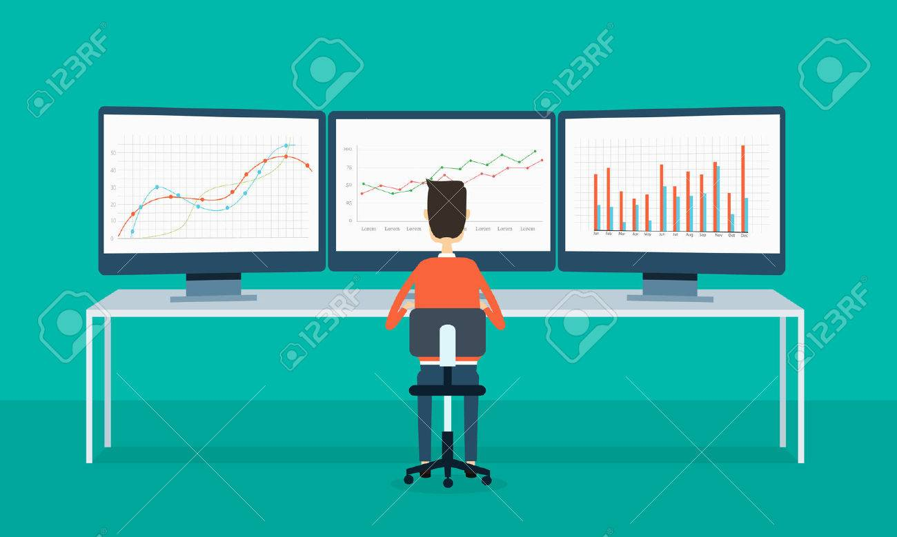 business people on monitor report graph and SEO on web - 37450212