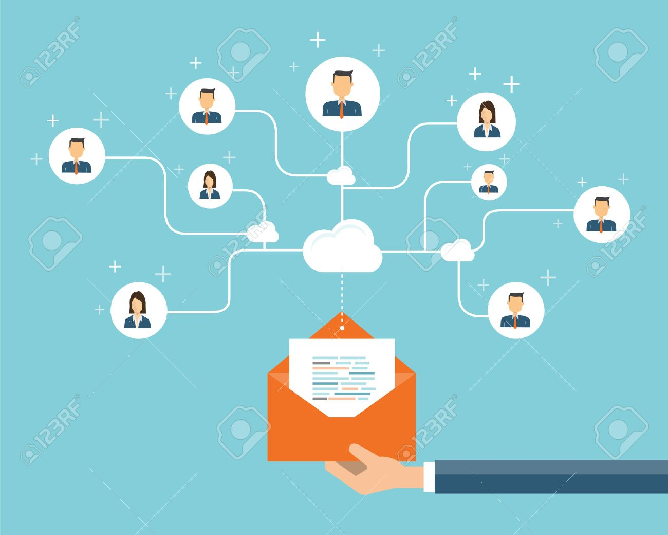 Email background image - Vector Business Email Marketing Connection On People Background Social Network And Business Connection