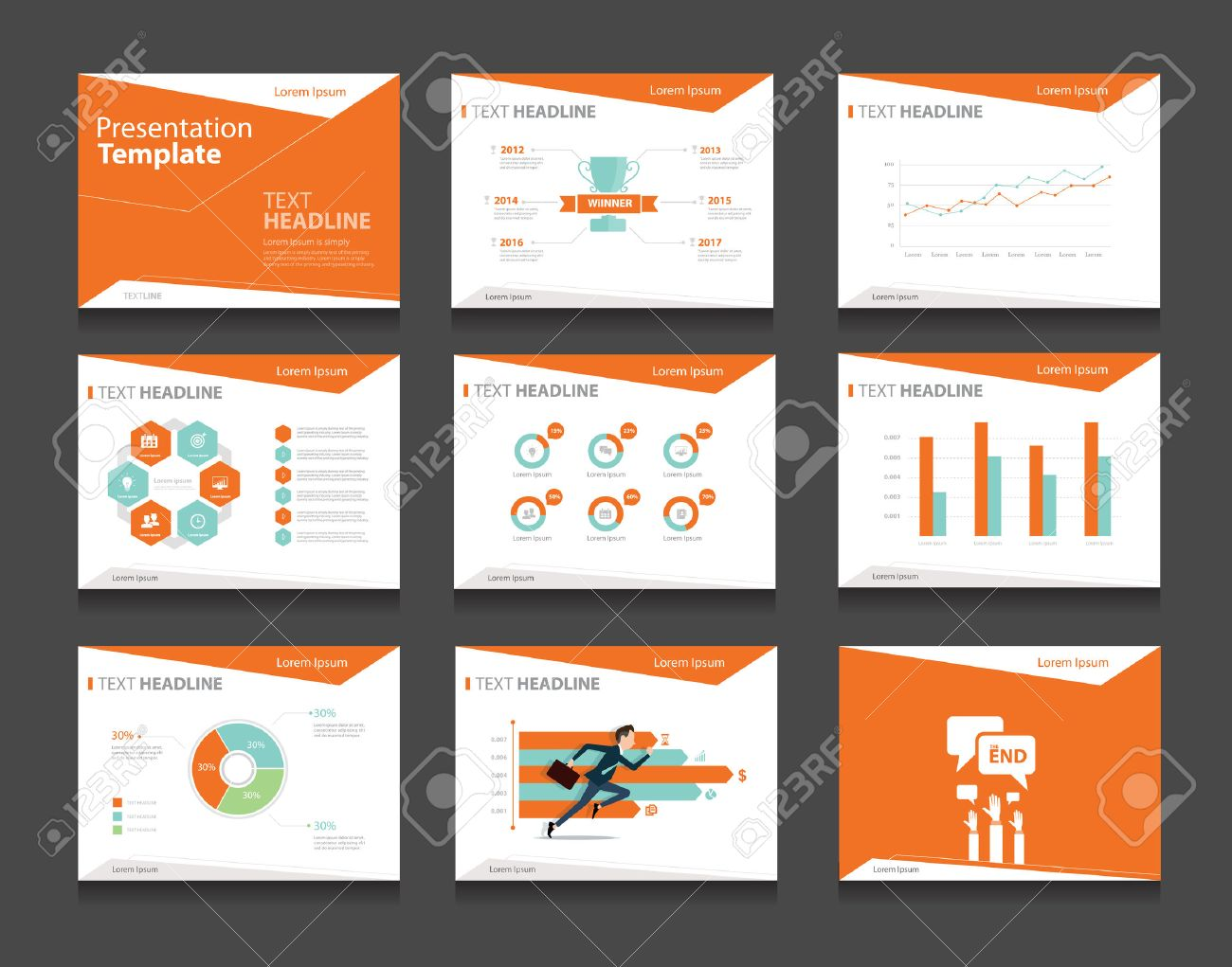 orange infographic business presentation template set.powerpoint, Powerpoint