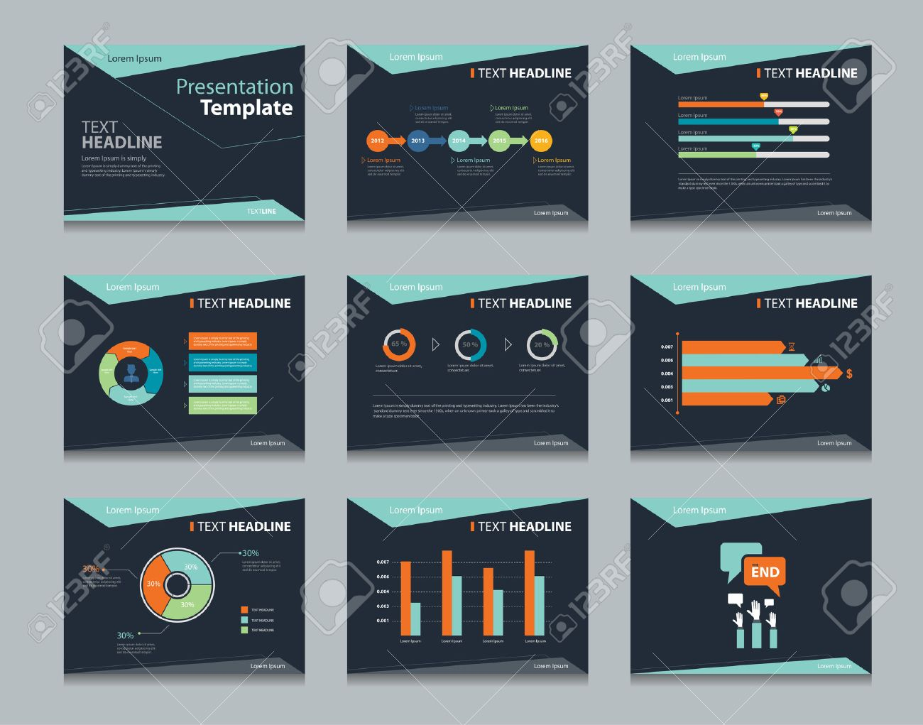 black infographic powerpoint template design backgrounds business