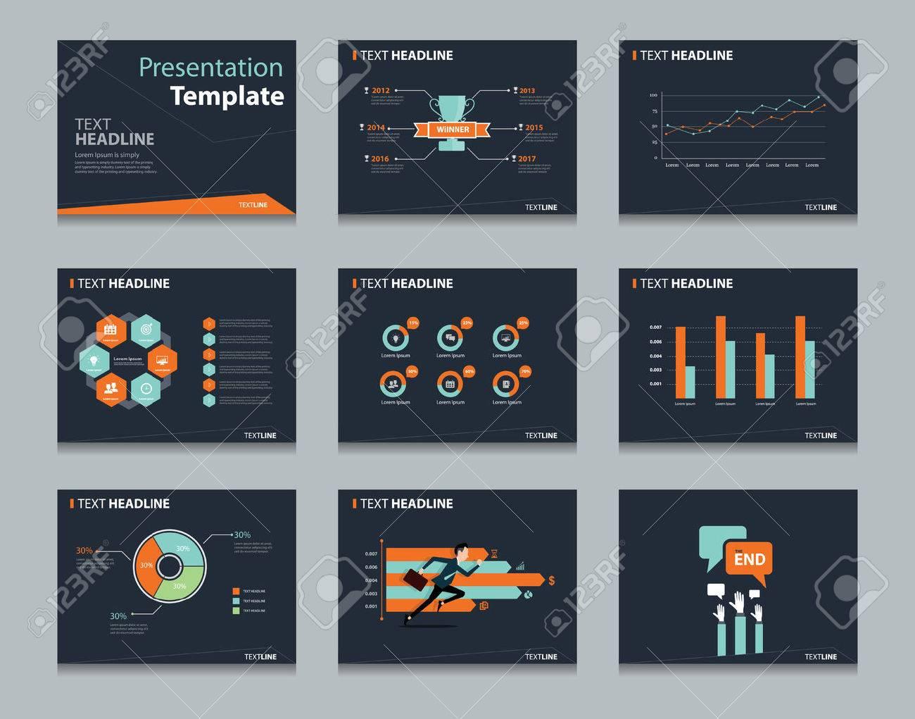 Negro Infográficas Plantilla Powerpoint Fondos De Diseño. Conjunto ...
