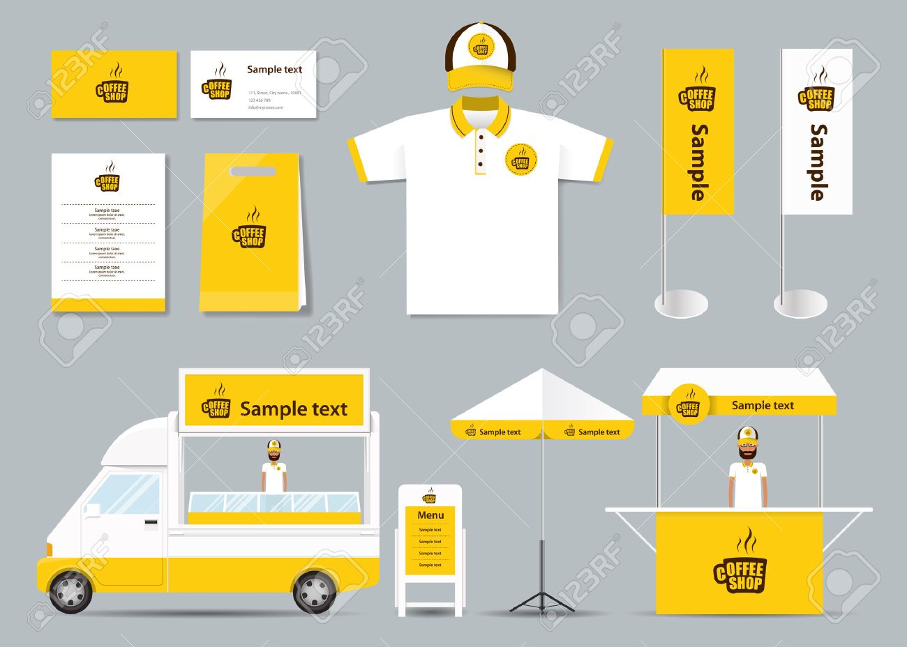 Konzept Corporate Branding Identität Mock-up-Vorlage Für Coffee-Shop ...