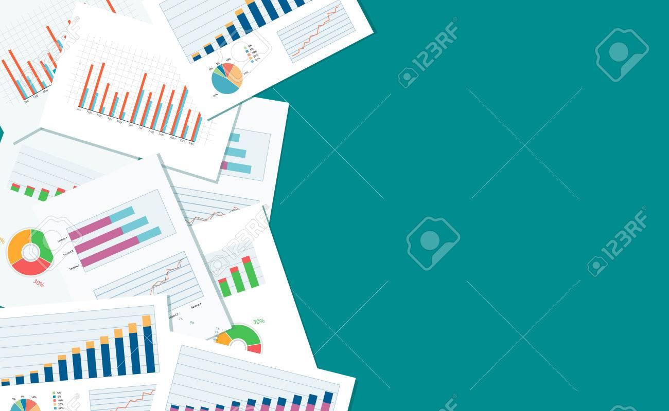 ビジネス金融と投資のバナーと business report paper graph での