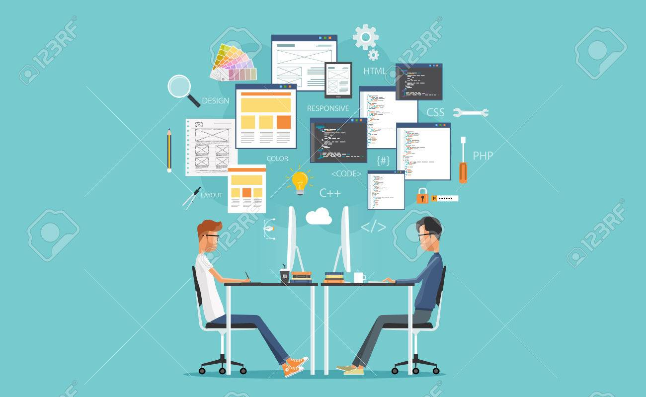 graphic design and web developer working on workplace. develop for website and application - 52743465