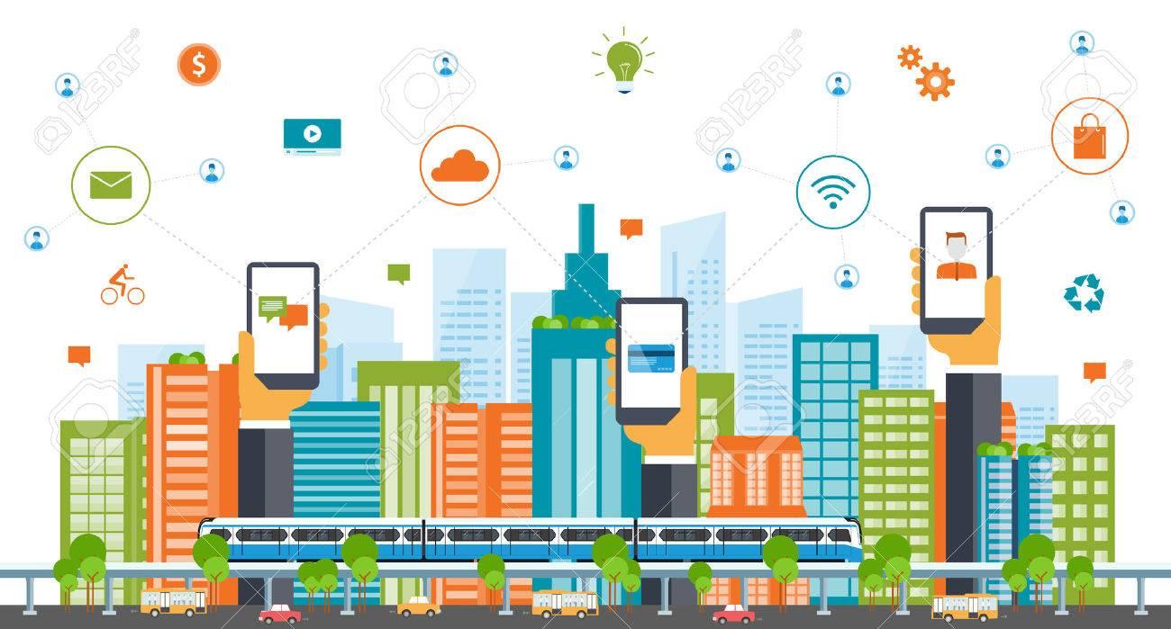 business smart city.internet connection.social concept - 53511708
