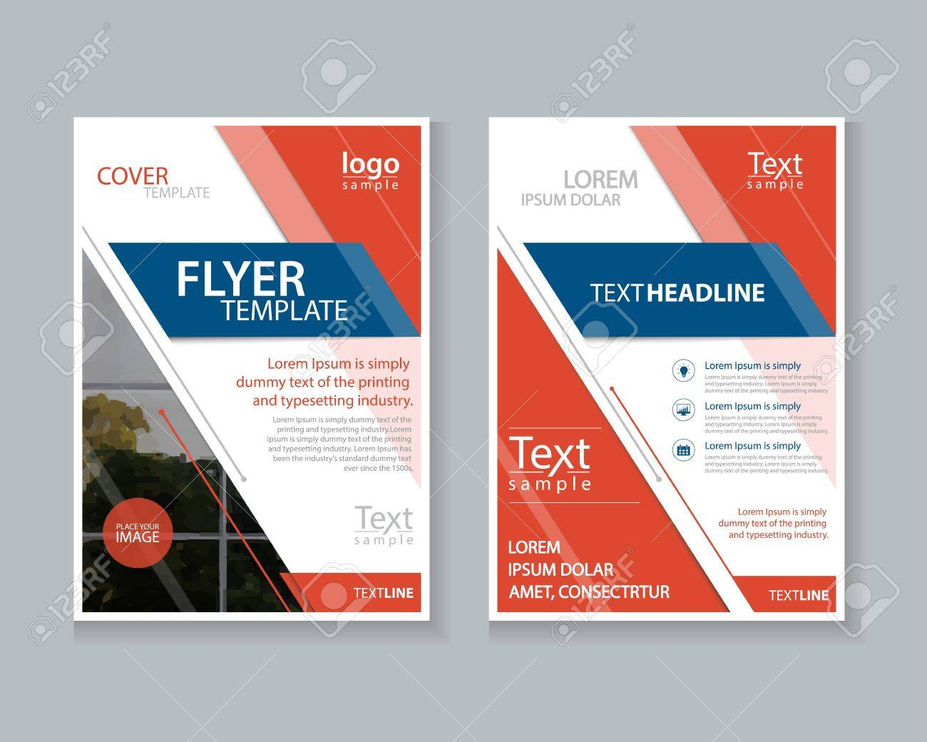 two page brochure flyer report layout design template and