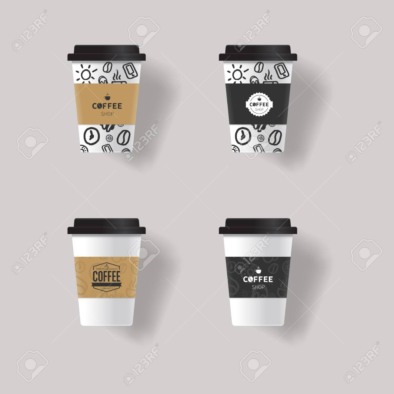 Coffee Cup Design Template Mock Up With Patterns Texture Background Stock Vector