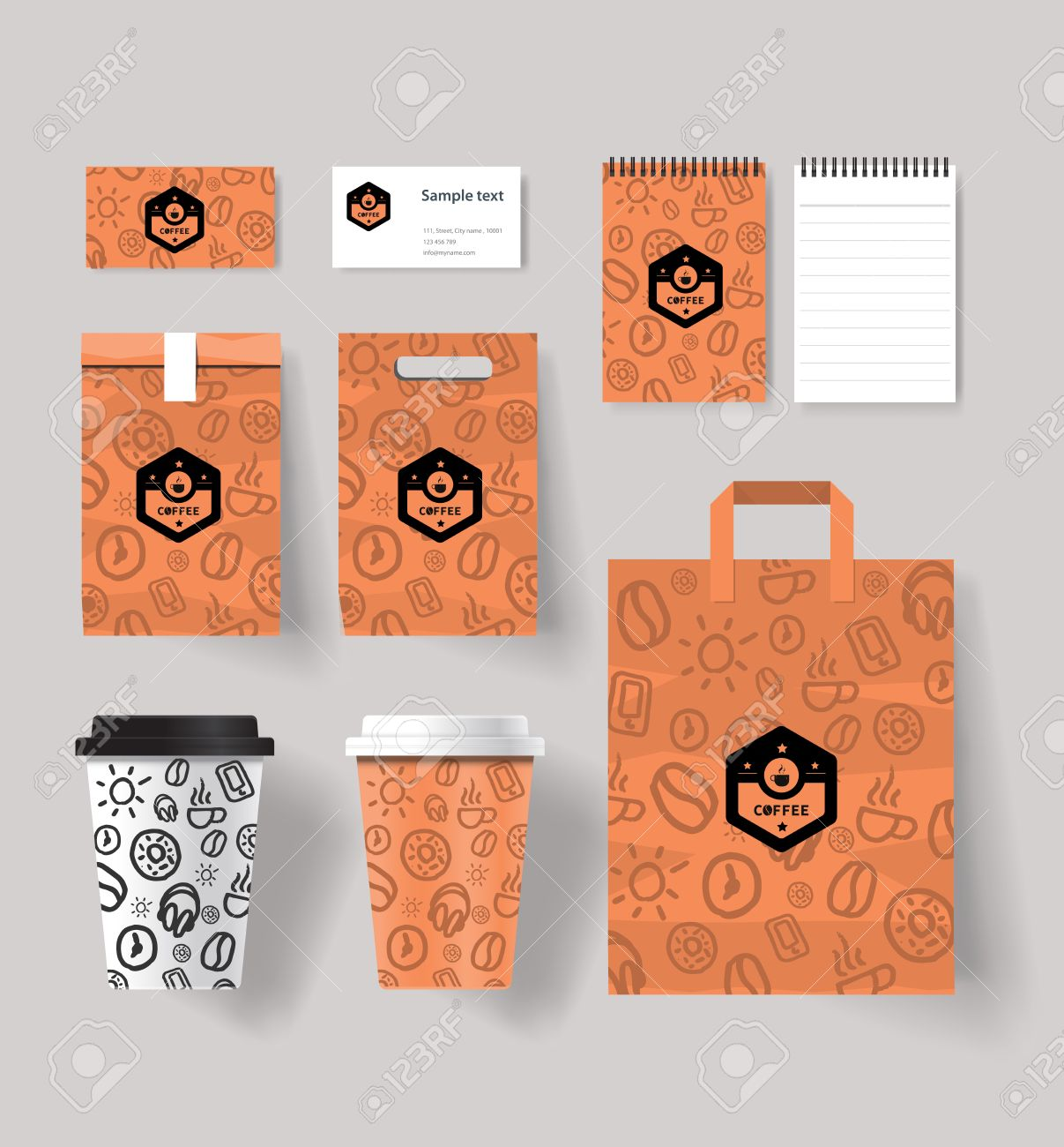 coffee shop set branding mock up with coffee cup and package