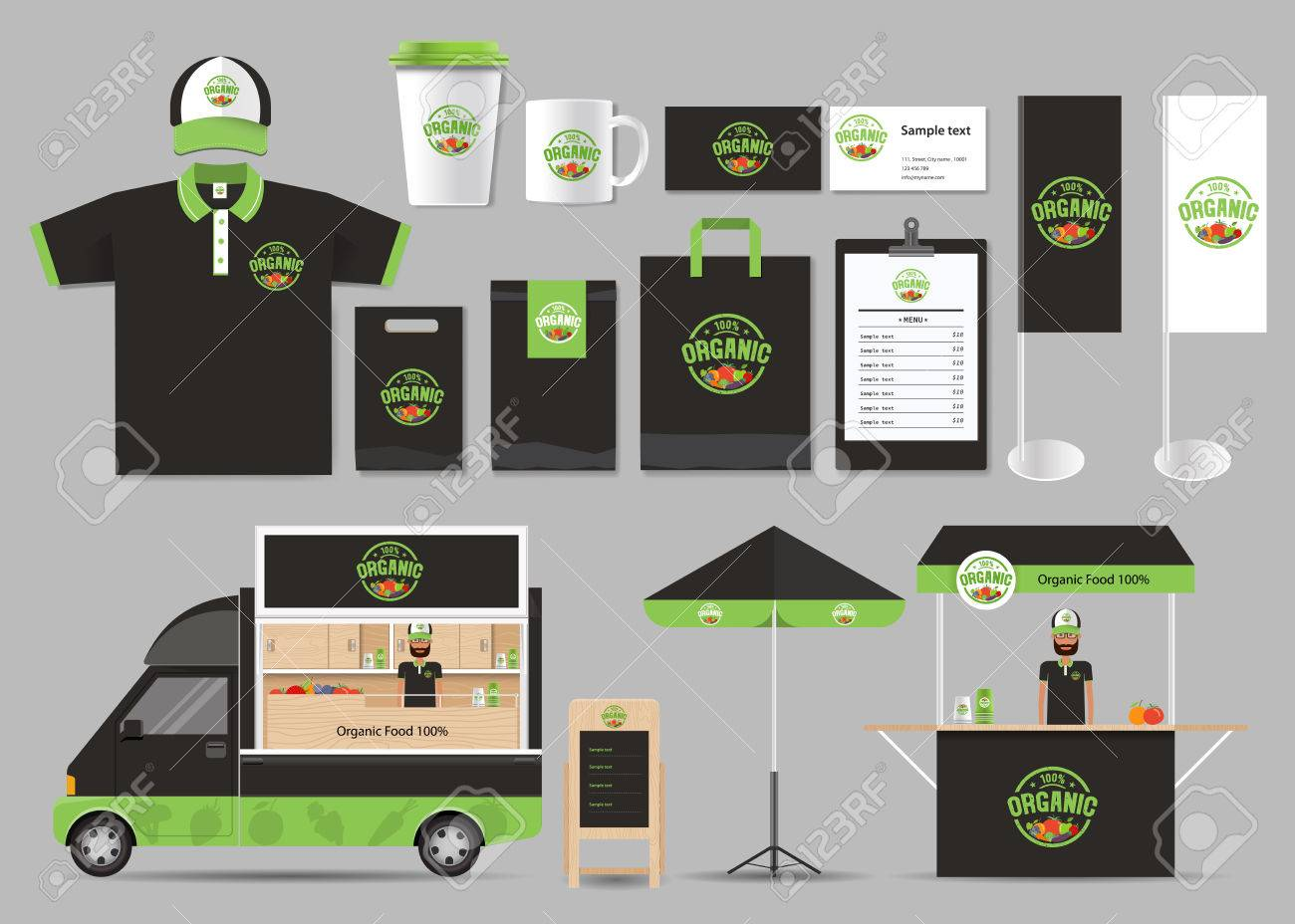 organic food branding mock up template with design corporate