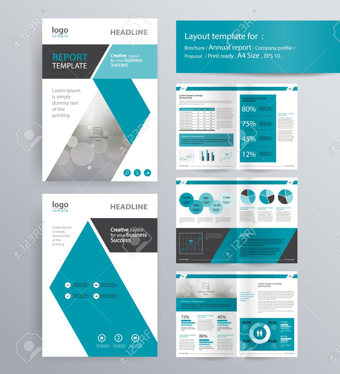 page layout for company profile, annual report, brochure, and flyer layout template. with info graphic element. and vector A4 size for editable - 68075788
