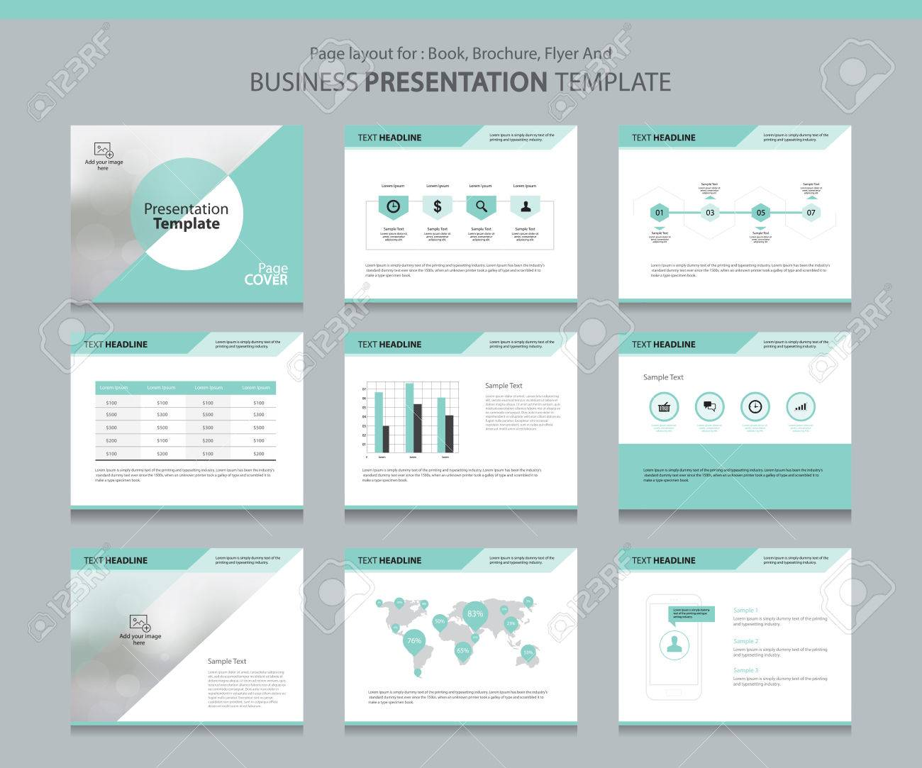 Page layout design template for business presentation page with page cover background design and infographic elements design - 68434863